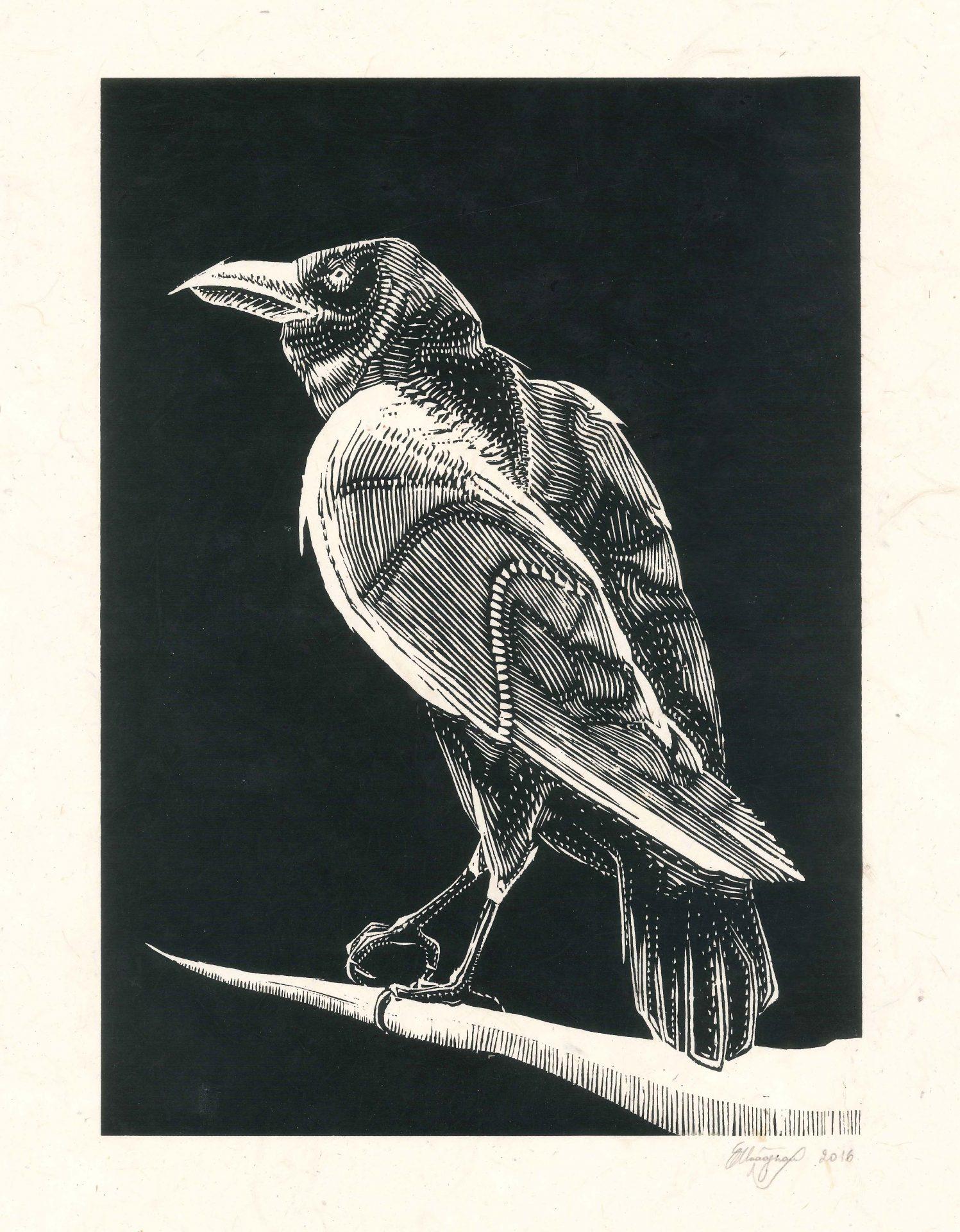 Raven silkscreen 25x35cm