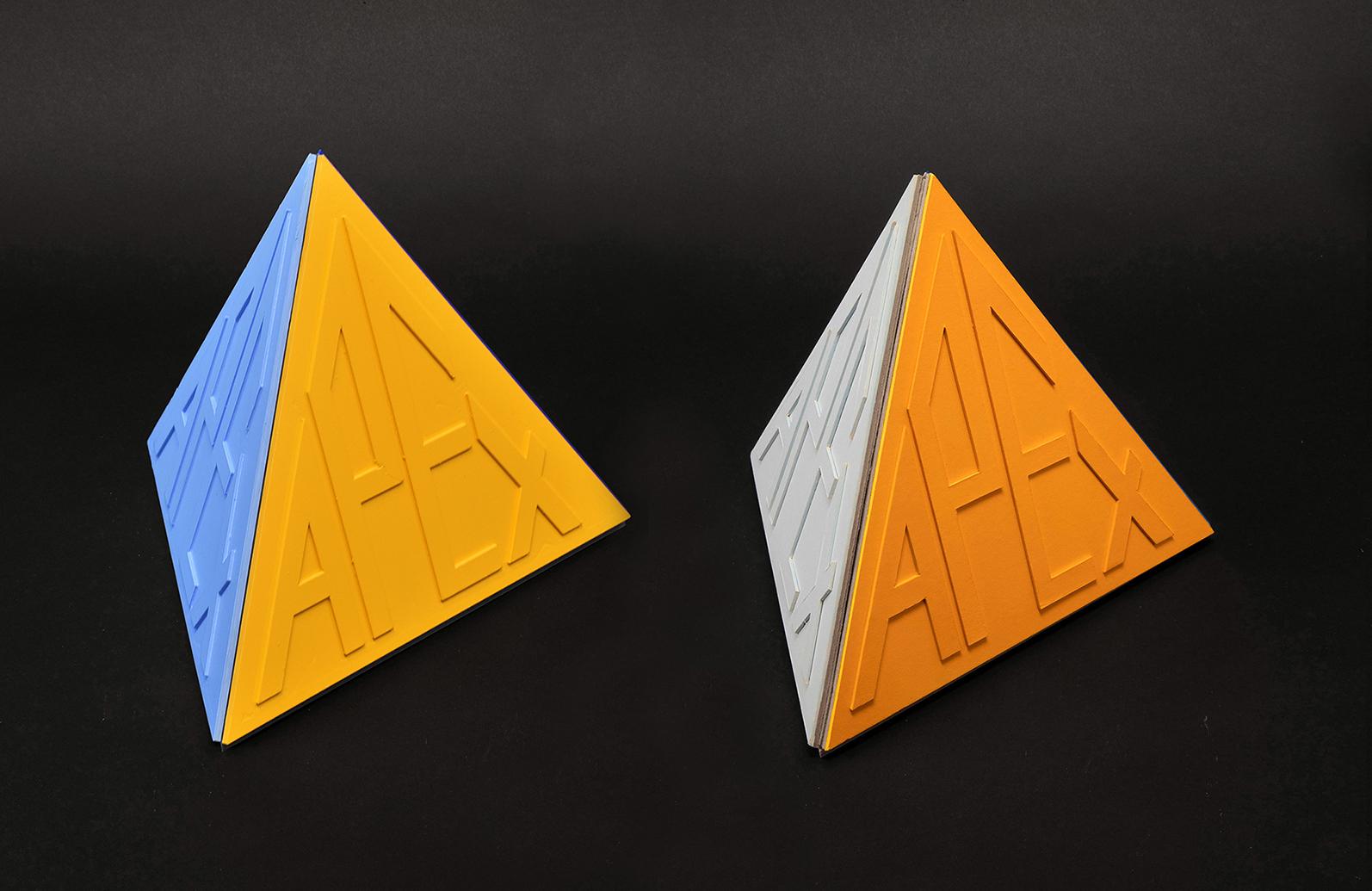 APEX 24x24x24cm (closed) left: 3d printed PLA, PVC, color spray right: cardboard, color spray